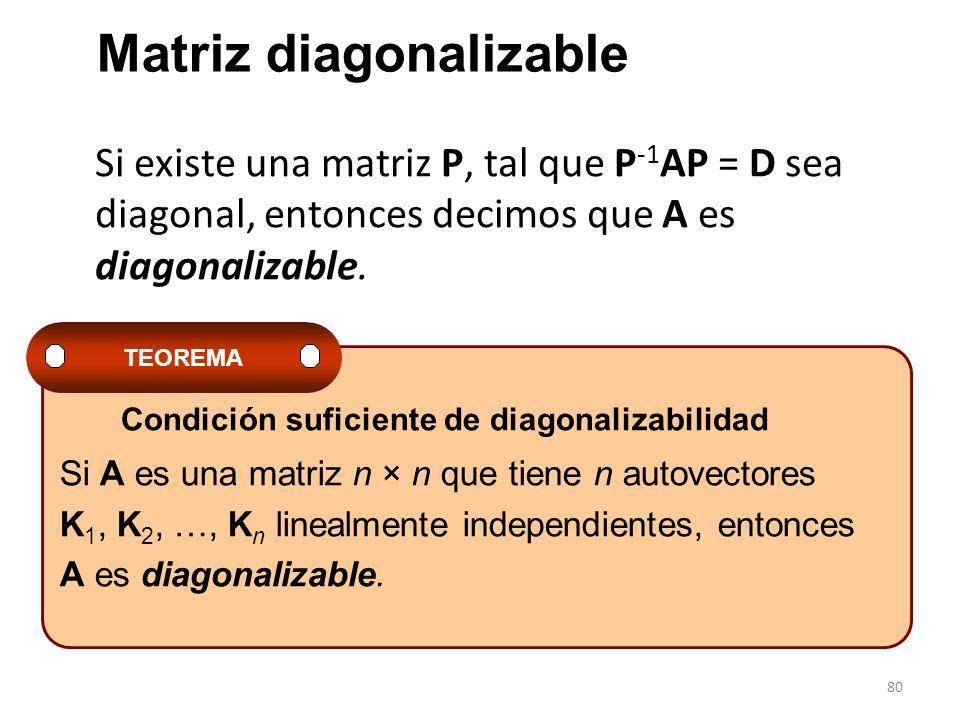 80 Si existe una matriz P, tal que P -1 AP = D sea diagonal, entonces decimos que A es diagonalizable. Si A es una matriz n × n que tiene n autovector