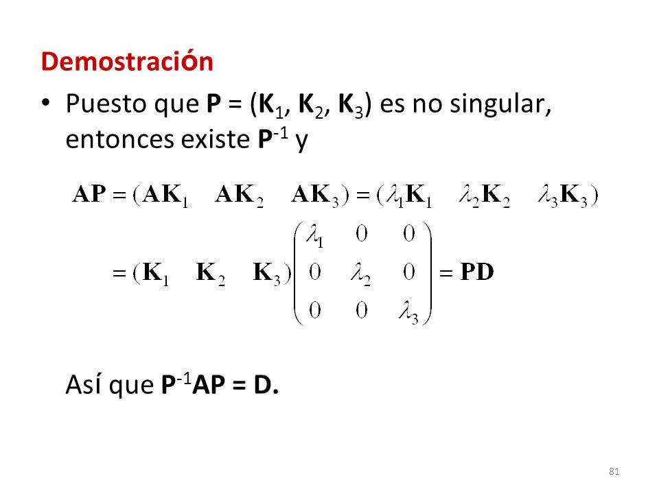81 Demostraci ó n Puesto que P = (K 1, K 2, K 3 ) es no singular, entonces existe P -1 y As í que P -1 AP = D.