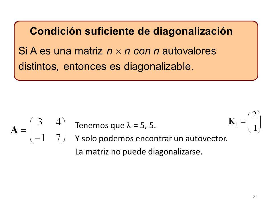 82 Si A es una matriz n n con n autovalores distintos, entonces es diagonalizable. Condición suficiente de diagonalización Tenemos que = 5, 5. Y solo