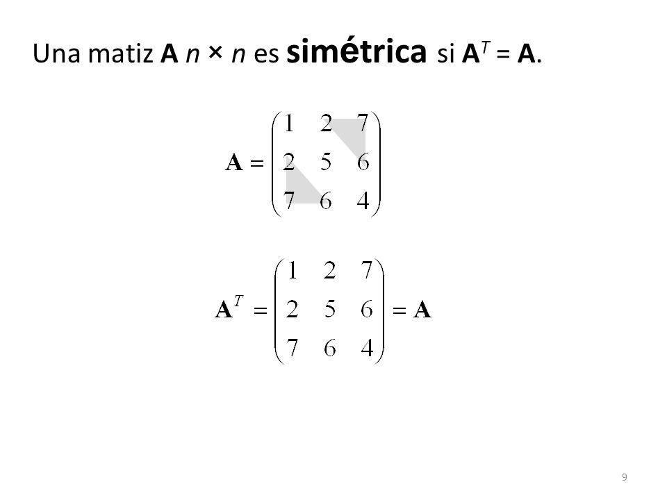 9 Una matiz A n × n es sim é trica si A T = A.