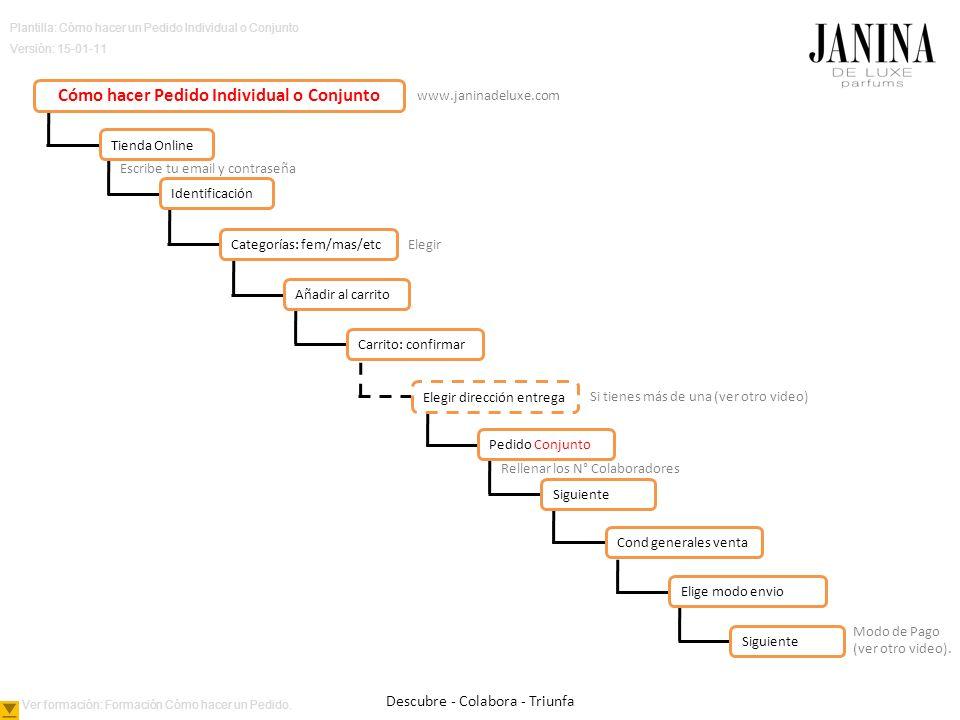 Plantilla: Cómo hacer un Pedido Individual o Conjunto Versión: 15-01-11 Escribe tu email y contraseña Elegir Si tienes más de una (ver otro video) Rellenar los N° Colaboradores Modo de Pago (ver otro video).
