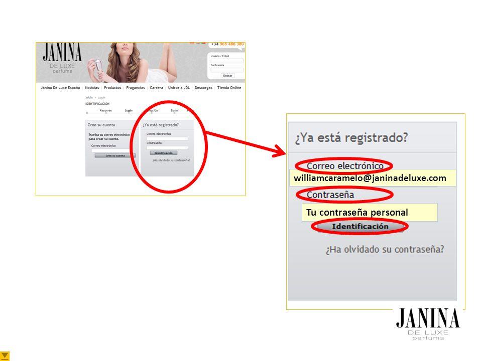 williamcaramelo@janinadeluxe.com Tu contraseña personal
