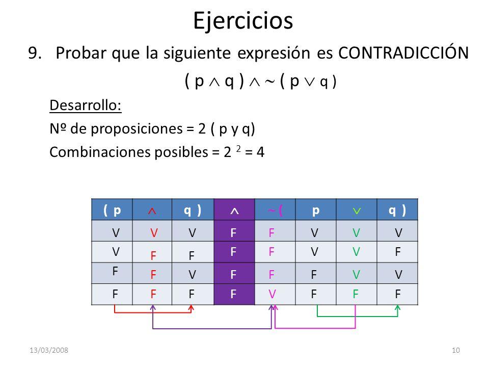 Ejercicios 9.Probar que la siguiente expresión es CONTRADICCIÓN ( p q ) Desarrollo: Nº de proposiciones = 2 ( p y q) Combinaciones posibles = 2 2 = 4