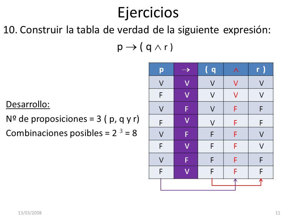 Ejercicios 10.Construir la tabla de verdad de la siguiente expresión: p ( q r ) Desarrollo: Nº de proposiciones = 3 ( p, q y r) Combinaciones posibles