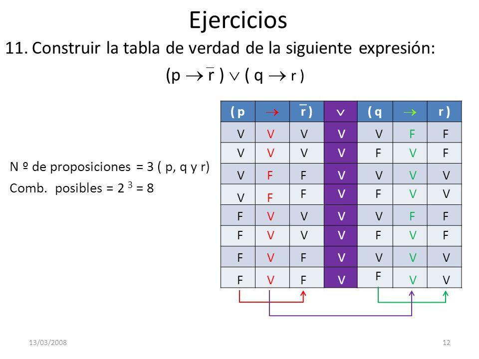 Ejercicios 11.Construir la tabla de verdad de la siguiente expresión: (p r ) ( q r ) N º de proposiciones = 3 ( p, q y r) Comb. posibles = 2 3 = 8 13/