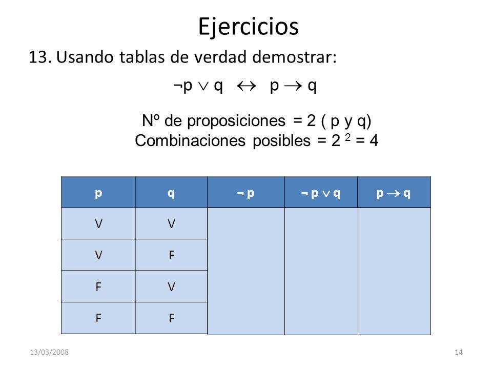 Ejercicios 13.Usando tablas de verdad demostrar: ¬p q p q 13/03/200814 pq¬ p ¬ p qp q VVFVV VFFFF FVVVV FFVVV Nº de proposiciones = 2 ( p y q) Combina