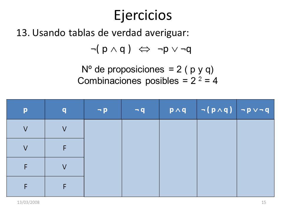 Ejercicios 13.Usando tablas de verdad averiguar: ¬( p q ) ¬p ¬q 13/03/200815 Nº de proposiciones = 2 ( p y q) Combinaciones posibles = 2 2 = 4 pq¬ p¬