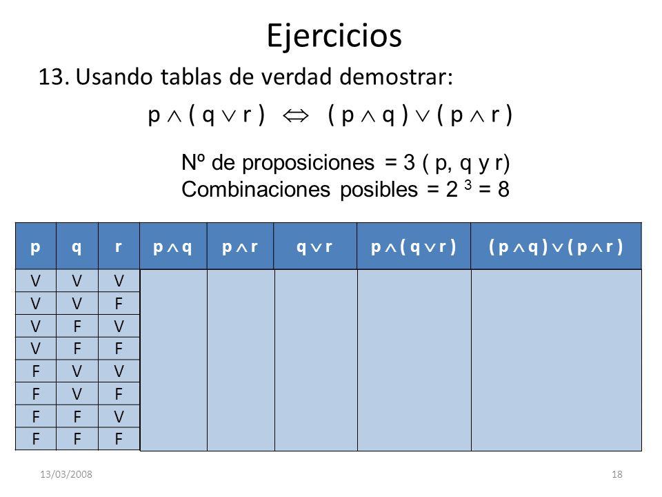 Ejercicios 13.Usando tablas de verdad demostrar: p ( q r ) ( p q ) ( p r ) 13/03/200818 Nº de proposiciones = 3 ( p, q y r) Combinaciones posibles = 2