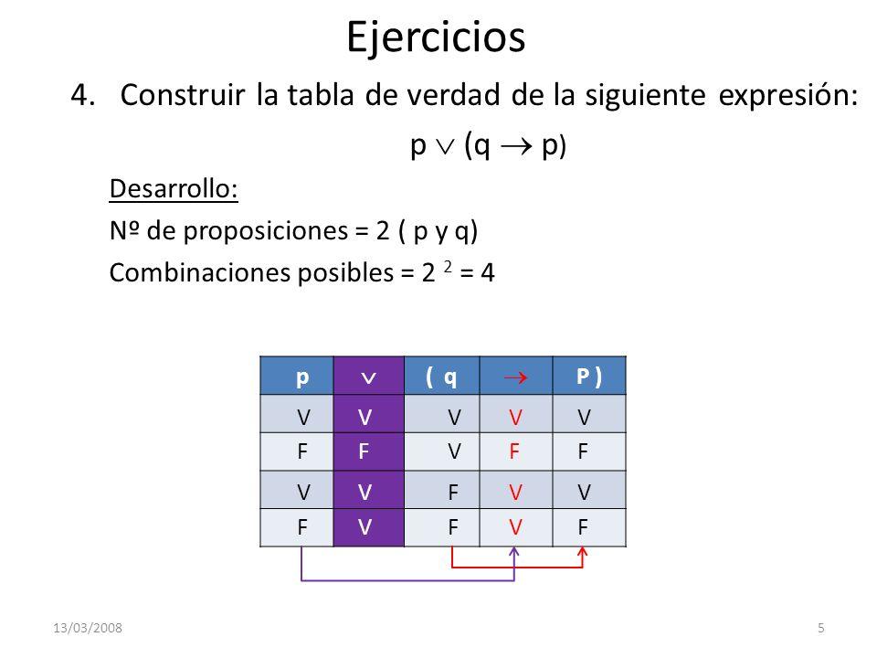 Ejercicios 4.Construir la tabla de verdad de la siguiente expresión: p (q p ) Desarrollo: Nº de proposiciones = 2 ( p y q) Combinaciones posibles = 2