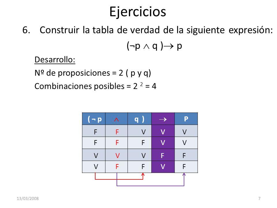 Ejercicios 7.Construir la tabla de verdad de la siguiente expresión: ( p q ) Desarrollo: Nº de proposiciones = 2 ( p y q) Combinaciones posibles = 2 2 = 4 13/03/20088 ( p q ) ( P q ) V V F V F F FV F V F F F F V V V F V F V F V V V F V V