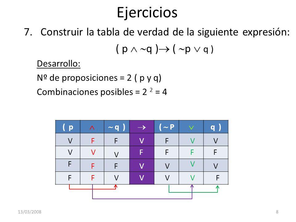 Ejercicios 7.Construir la tabla de verdad de la siguiente expresión: ( p q ) Desarrollo: Nº de proposiciones = 2 ( p y q) Combinaciones posibles = 2 2