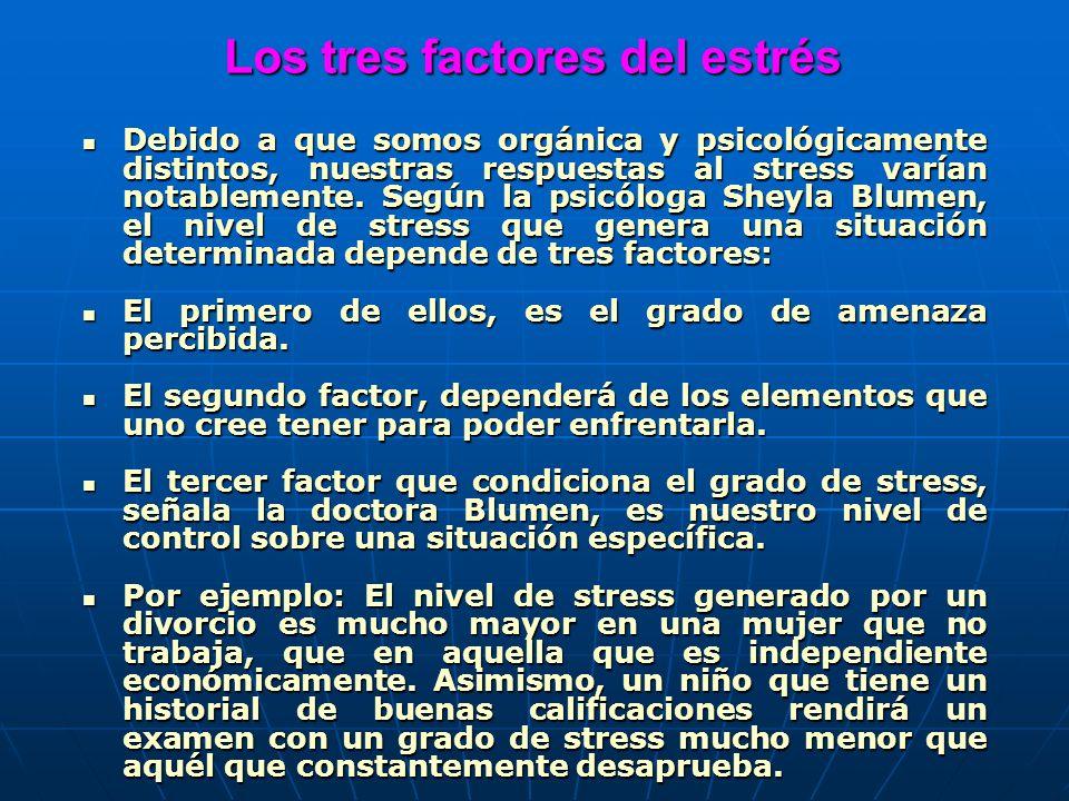Los tres factores del estrés Los tres factores del estrés Debido a que somos orgánica y psicológicamente distintos, nuestras respuestas al stress varí