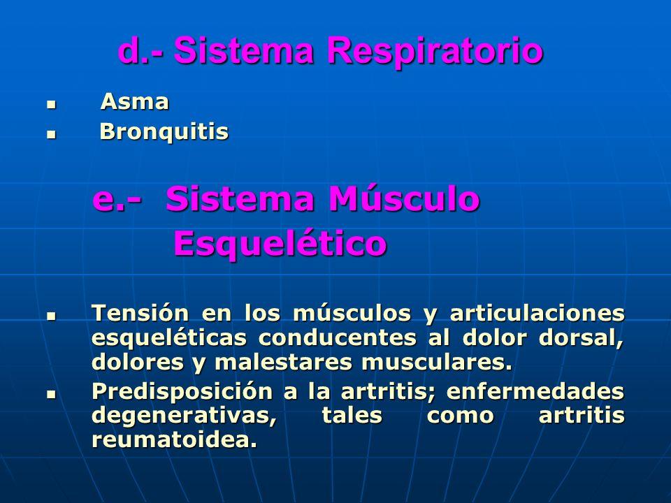 d.- Sistema Respiratorio Asma Asma Bronquitis Bronquitis e.- Sistema Músculo e.- Sistema Músculo Esquelético Esquelético Tensión en los músculos y art