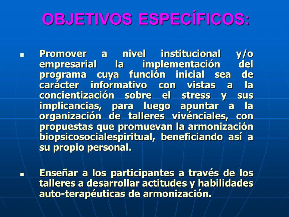 OBJETIVOS ESPECÍFICOS: Promover a nivel institucional y/o empresarial la implementación del programa cuya función inicial sea de carácter informativo