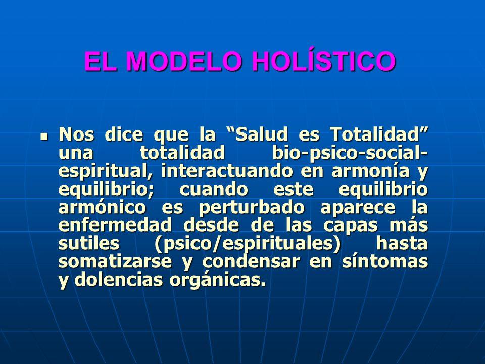 EL MODELO HOLÍSTICO Nos dice que la Salud es Totalidad una totalidad bio-psico-social- espiritual, interactuando en armonía y equilibrio; cuando este