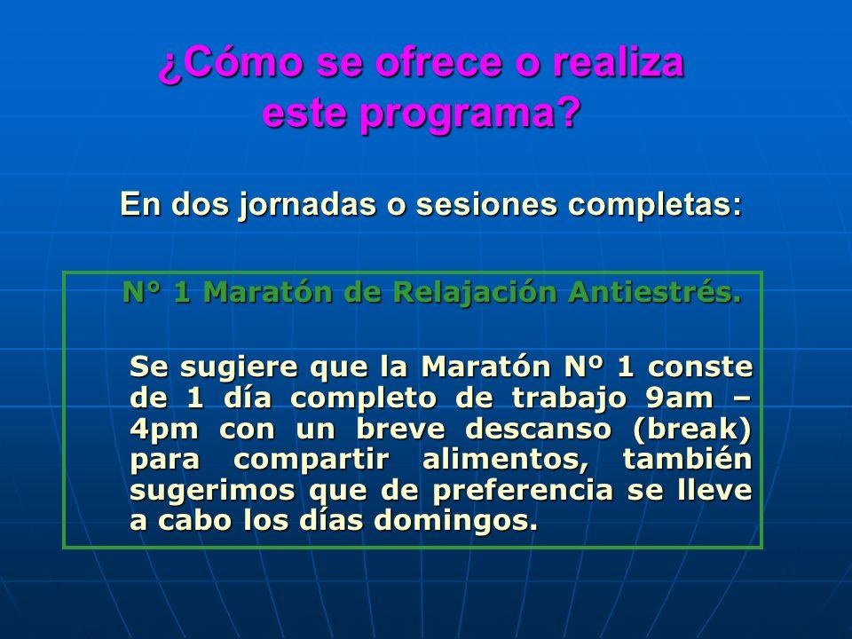 ¿Cómo se ofrece o realiza este programa? N° 1 Maratón de Relajación Antiestrés. N° 1 Maratón de Relajación Antiestrés. Se sugiere que la Maratón Nº 1