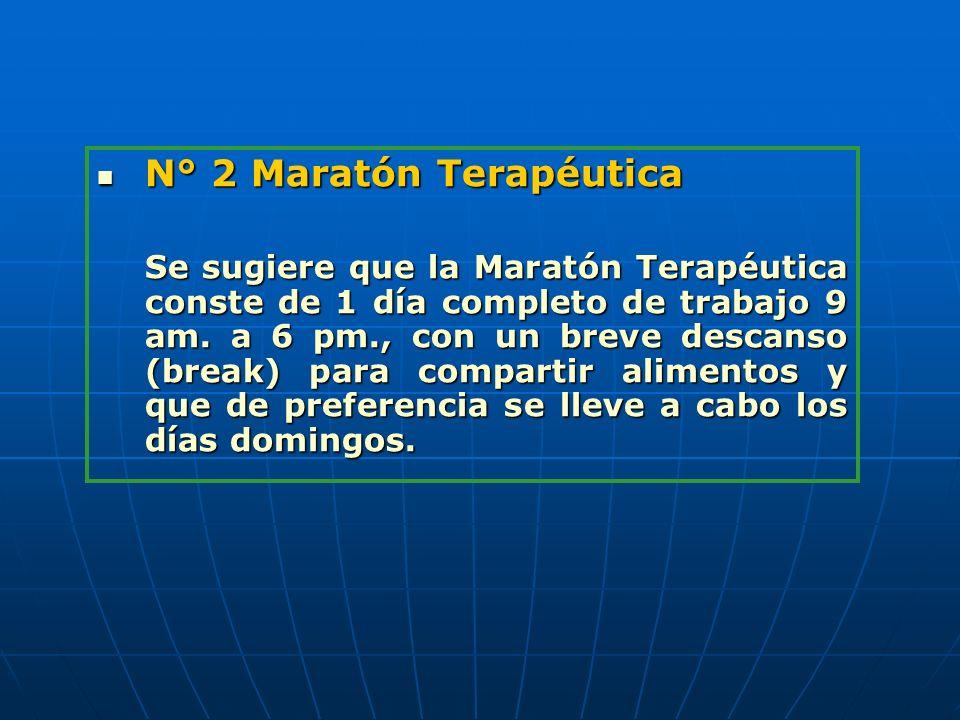 N° 2 Maratón Terapéutica N° 2 Maratón Terapéutica Se sugiere que la Maratón Terapéutica conste de 1 día completo de trabajo 9 am. a 6 pm., con un brev