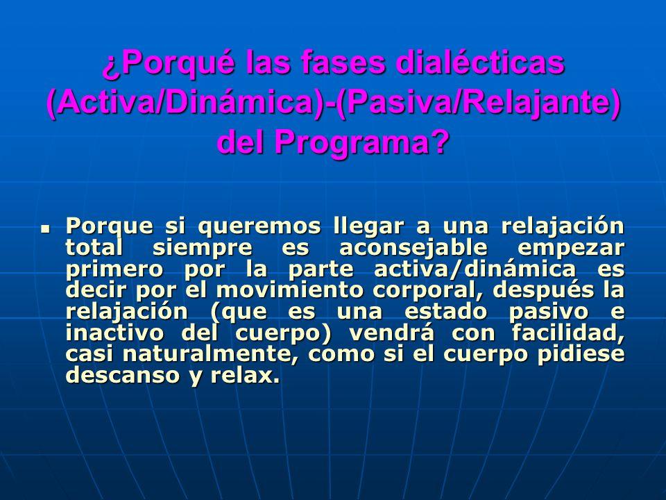 ¿Porqué las fases dialécticas (Activa/Dinámica)-(Pasiva/Relajante) del Programa? Porque si queremos llegar a una relajación total siempre es aconsejab