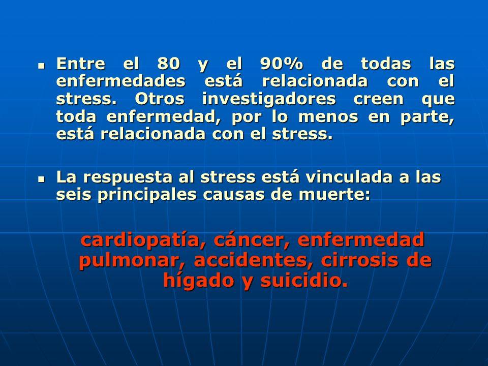 Entre el 80 y el 90% de todas las enfermedades está relacionada con el stress. Otros investigadores creen que toda enfermedad, por lo menos en parte,