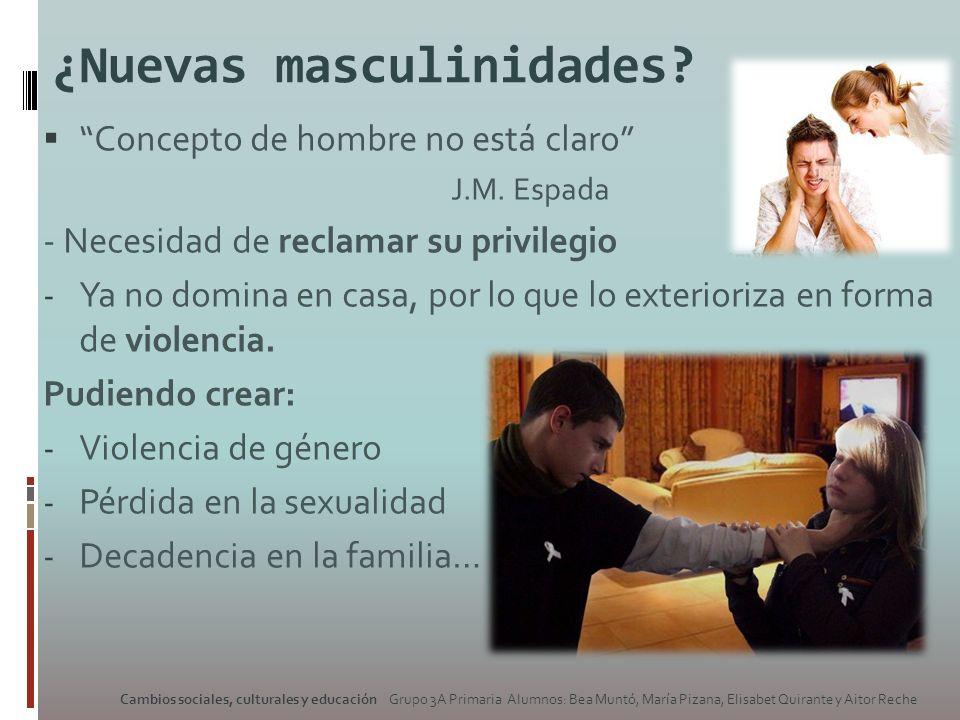 ¿Nuevas masculinidades? Concepto de hombre no está claro J.M. Espada - Necesidad de reclamar su privilegio - Ya no domina en casa, por lo que lo exter
