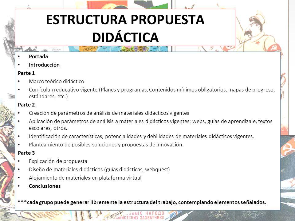 ESTRUCTURA PROPUESTA DIDÁCTICA Portada Introducción Parte 1 Marco teórico didáctico Currículum educativo vigente (Planes y programas, Contenidos mínim