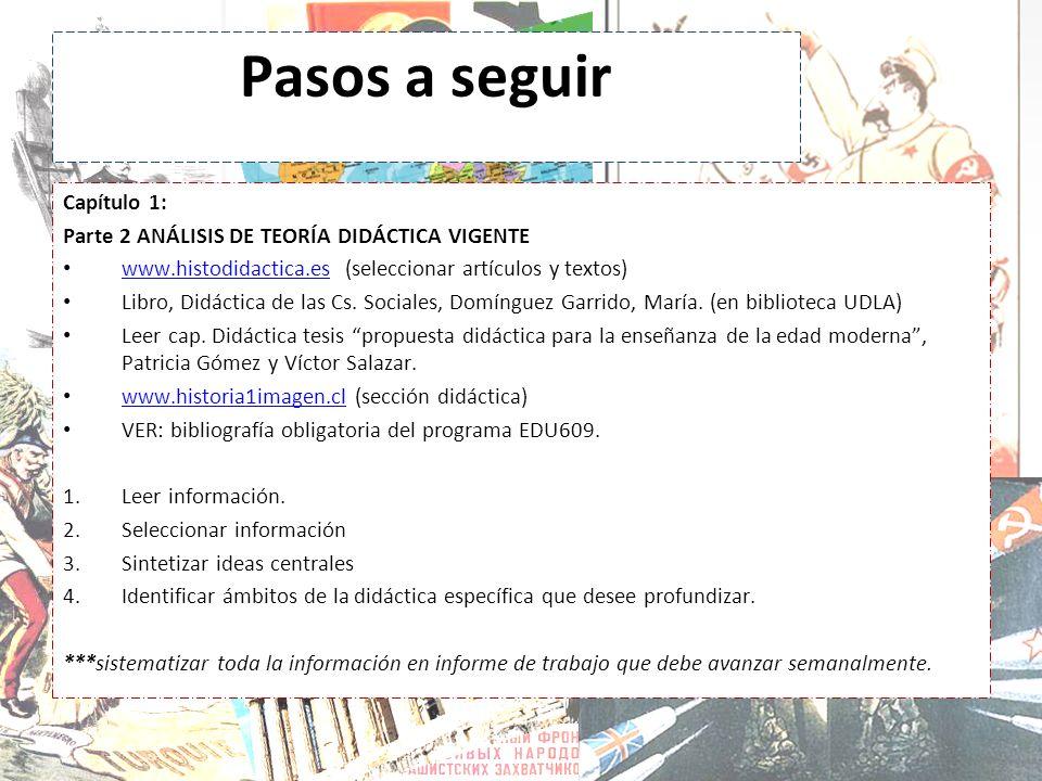 Pasos a seguir Capítulo 1: Parte 2 ANÁLISIS DE TEORÍA DIDÁCTICA VIGENTE www.histodidactica.es (seleccionar artículos y textos) www.histodidactica.es L