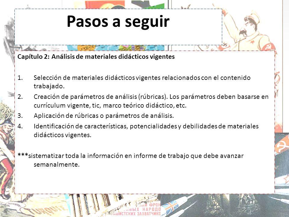 Pasos a seguir Capítulo 2: Análisis de materiales didácticos vigentes 1.Selección de materiales didácticos vigentes relacionados con el contenido trab