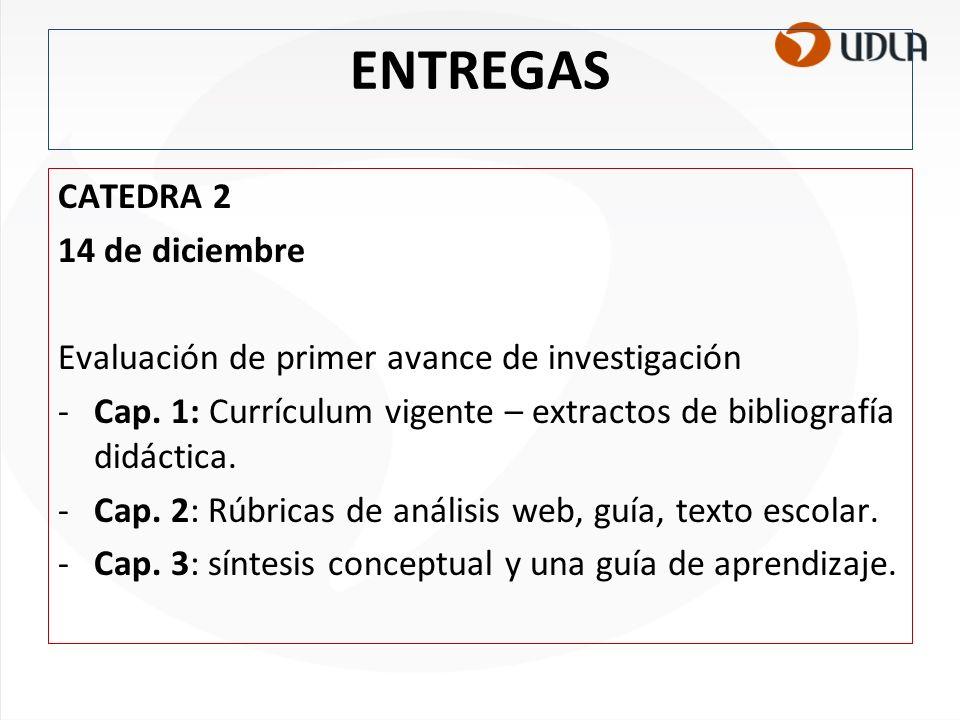 ENTREGAS CATEDRA 2 14 de diciembre Evaluación de primer avance de investigación -Cap. 1: Currículum vigente – extractos de bibliografía didáctica. -Ca