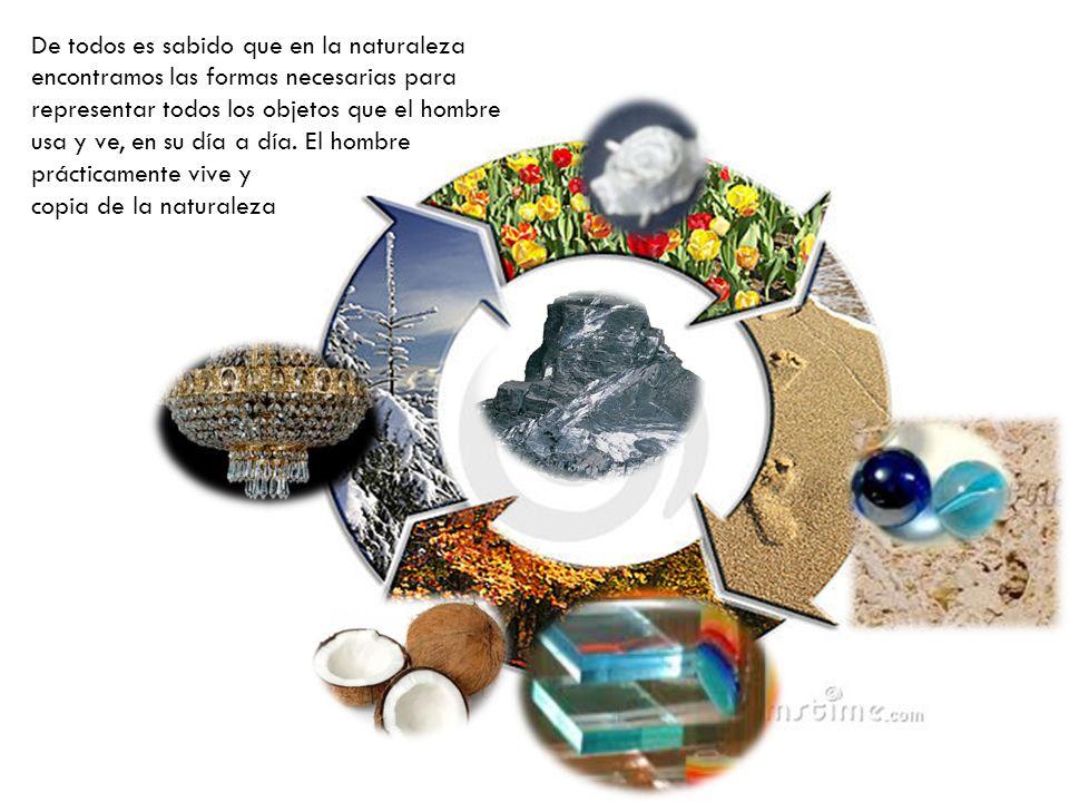De todos es sabido que en la naturaleza encontramos las formas necesarias para representar todos los objetos que el hombre usa y ve, en su día a día.