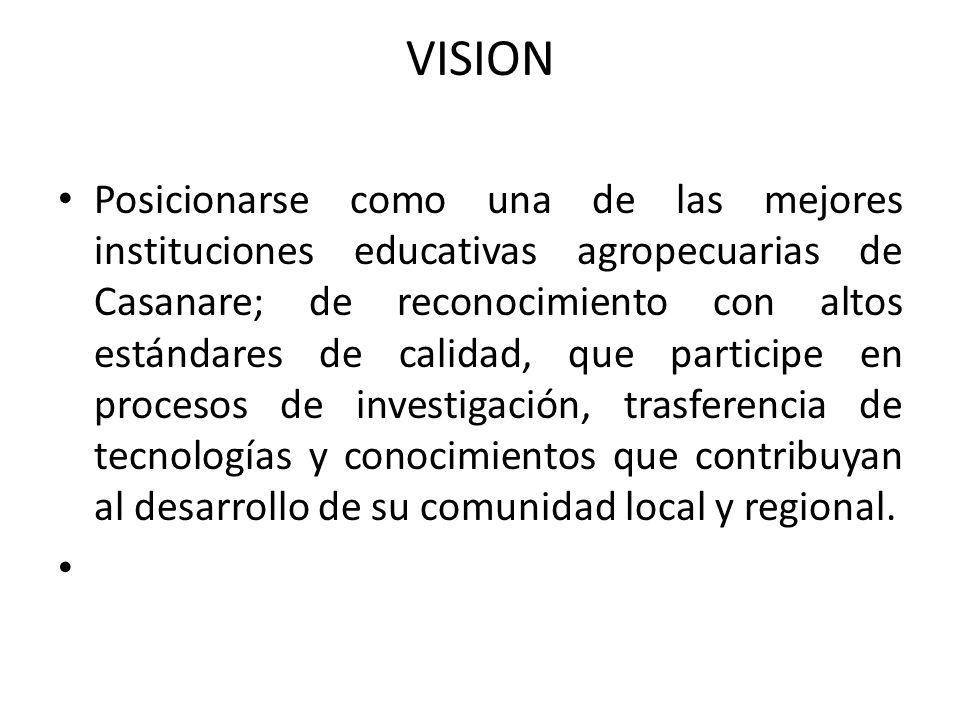 VISION Posicionarse como una de las mejores instituciones educativas agropecuarias de Casanare; de reconocimiento con altos estándares de calidad, que participe en procesos de investigación, trasferencia de tecnologías y conocimientos que contribuyan al desarrollo de su comunidad local y regional.