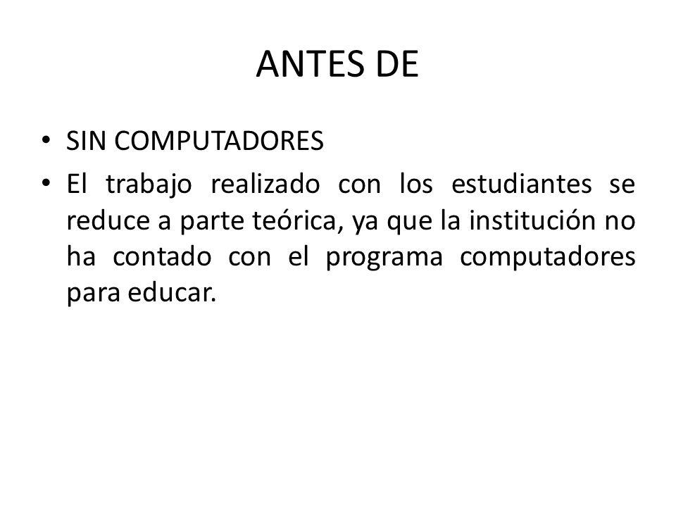 ANTES DE SIN COMPUTADORES El trabajo realizado con los estudiantes se reduce a parte teórica, ya que la institución no ha contado con el programa computadores para educar.