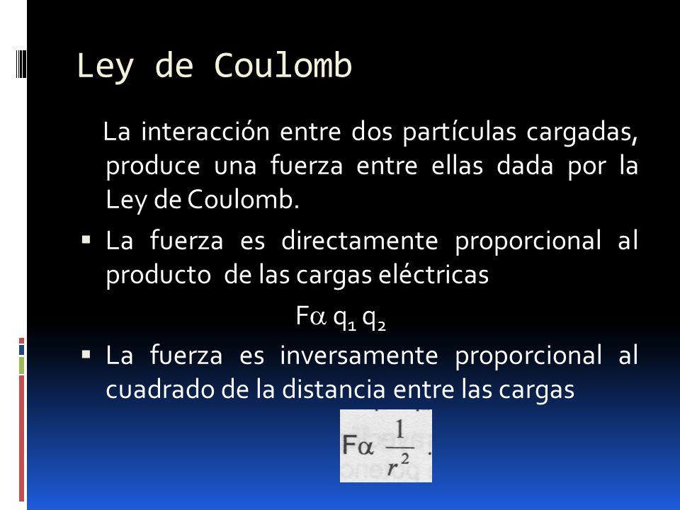 Ley de Coulomb La interacción entre dos partículas cargadas, produce una fuerza entre ellas dada por la Ley de Coulomb. La fuerza es directamente prop