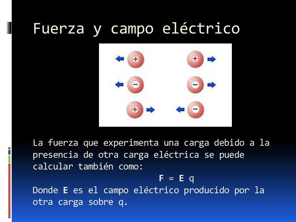 Fuerza y campo eléctrico La fuerza que experimenta una carga debido a la presencia de otra carga eléctrica se puede calcular también como: F = E q Don