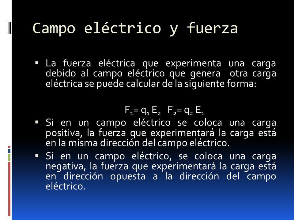 Campo eléctrico y fuerza La fuerza eléctrica que experimenta una carga debido al campo eléctrico que genera otra carga eléctrica se puede calcular de