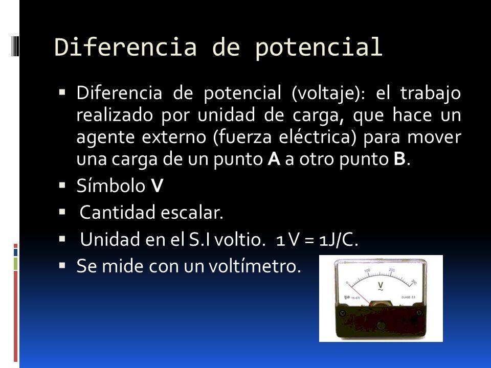 Diferencia de potencial Diferencia de potencial (voltaje): el trabajo realizado por unidad de carga, que hace un agente externo (fuerza eléctrica) par