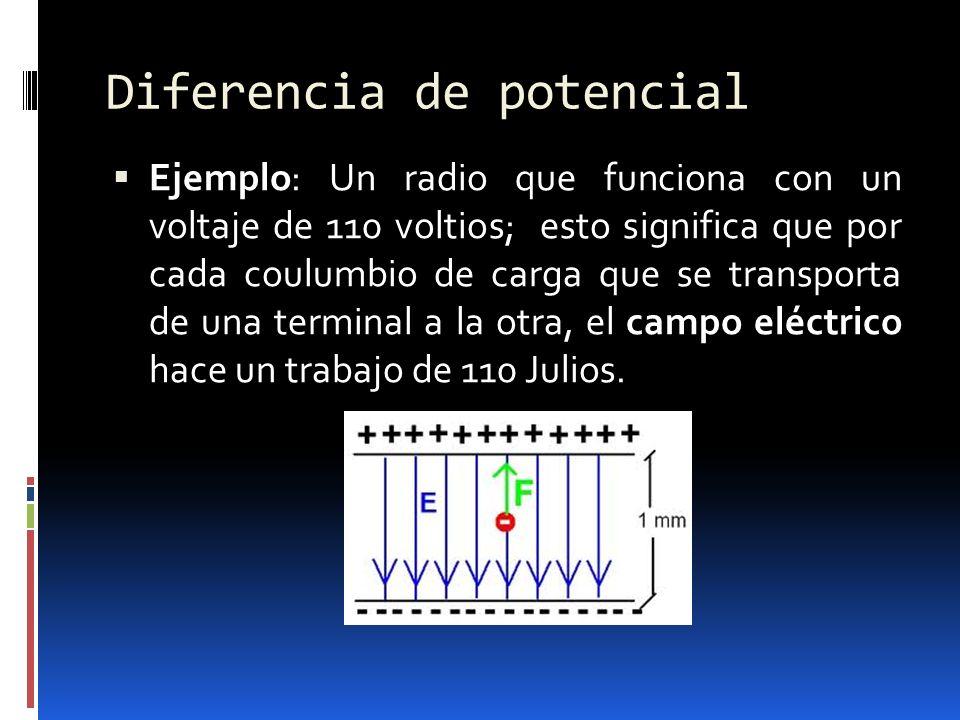 Diferencia de potencial Ejemplo: Un radio que funciona con un voltaje de 110 voltios; esto significa que por cada coulumbio de carga que se transporta