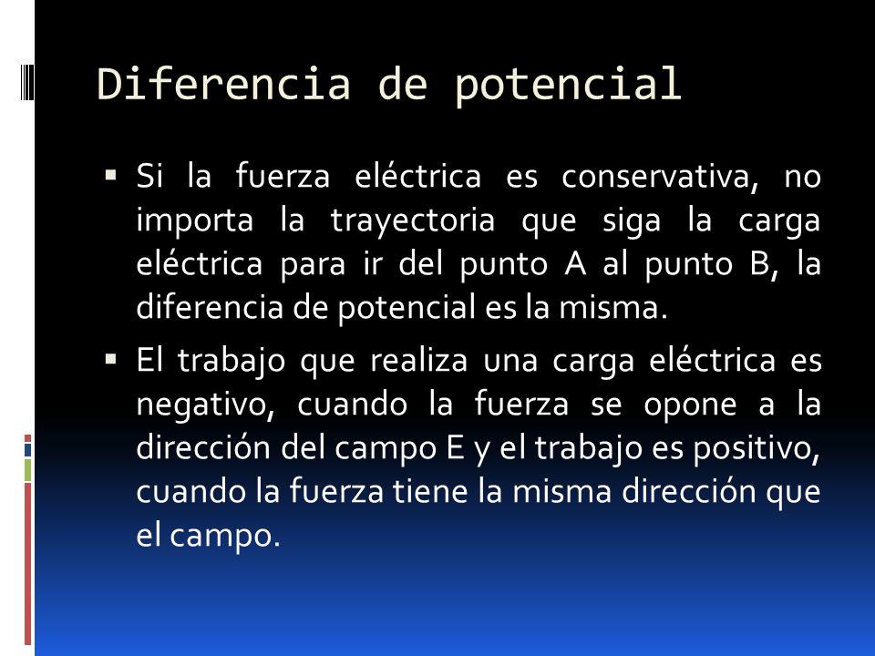 Diferencia de potencial Si la fuerza eléctrica es conservativa, no importa la trayectoria que siga la carga eléctrica para ir del punto A al punto B,