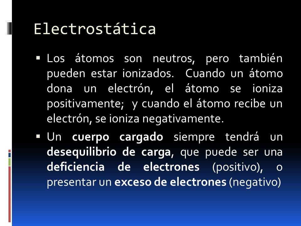 Electrostática Los átomos son neutros, pero también pueden estar ionizados. Cuando un átomo dona un electrón, el átomo se ioniza positivamente; y cuan
