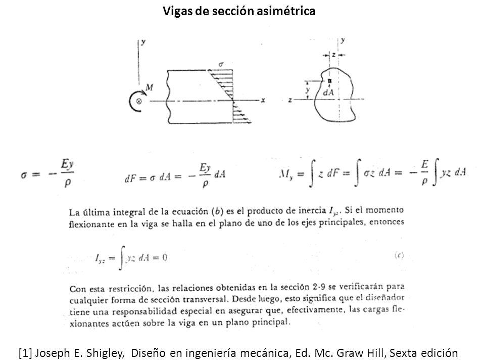 Vigas de sección asimétrica [1] Joseph E.Shigley, Diseño en ingeniería mecánica, Ed.