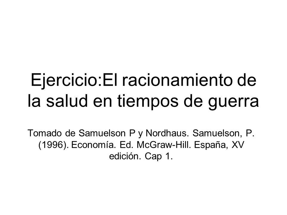 Ejercicio:El racionamiento de la salud en tiempos de guerra Tomado de Samuelson P y Nordhaus. Samuelson, P. (1996). Economía. Ed. McGraw-Hill. España,