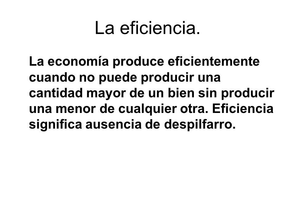 La eficiencia. La economía produce eficientemente cuando no puede producir una cantidad mayor de un bien sin producir una menor de cualquier otra. Efi