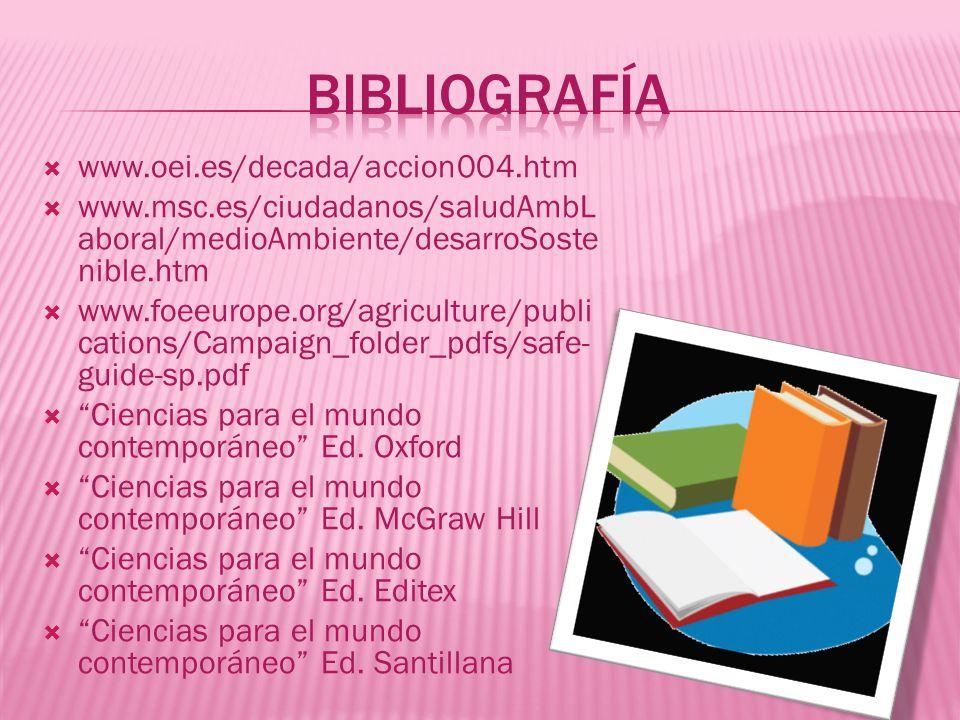 www.oei.es/decada/accion004.htm www.msc.es/ciudadanos/saludAmbL aboral/medioAmbiente/desarroSoste nible.htm www.foeeurope.org/agriculture/publi cation