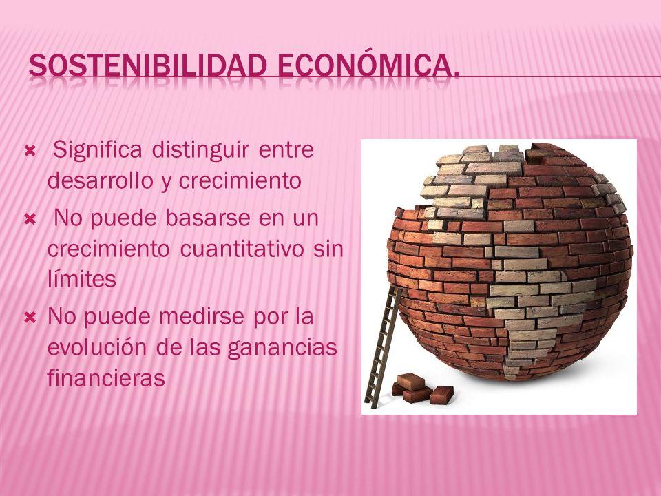Significa distinguir entre desarrollo y crecimiento No puede basarse en un crecimiento cuantitativo sin límites No puede medirse por la evolución de l