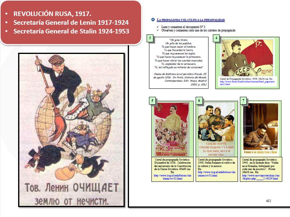 REVOLUCIÓN RUSA, 1917. Secretaría General de Lenin 1917-1924 Secretaría General de Stalin 1924-1953 REVOLUCIÓN RUSA, 1917. Secretaría General de Lenin