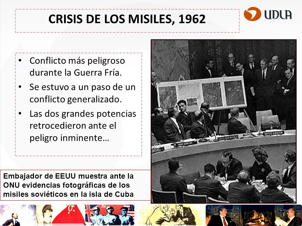 CRISIS DE LOS MISILES, 1962 Conflicto más peligroso durante la Guerra Fría. Se estuvo a un paso de un conflicto generalizado. Las dos grandes potencia