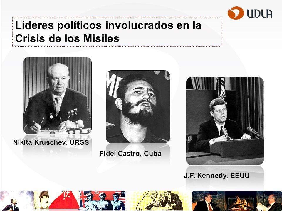 Líderes políticos involucrados en la Crisis de los Misiles Nikita Kruschev, URSS Fidel Castro, Cuba J.F. Kennedy, EEUU