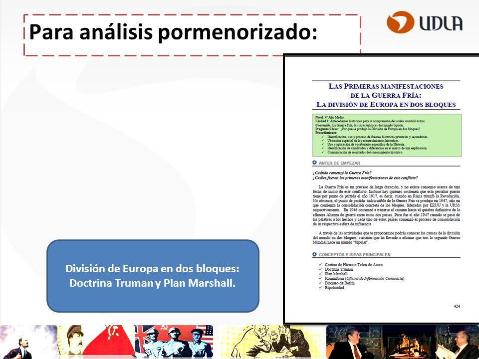 Para análisis pormenorizado: División de Europa en dos bloques: Doctrina Truman y Plan Marshall.