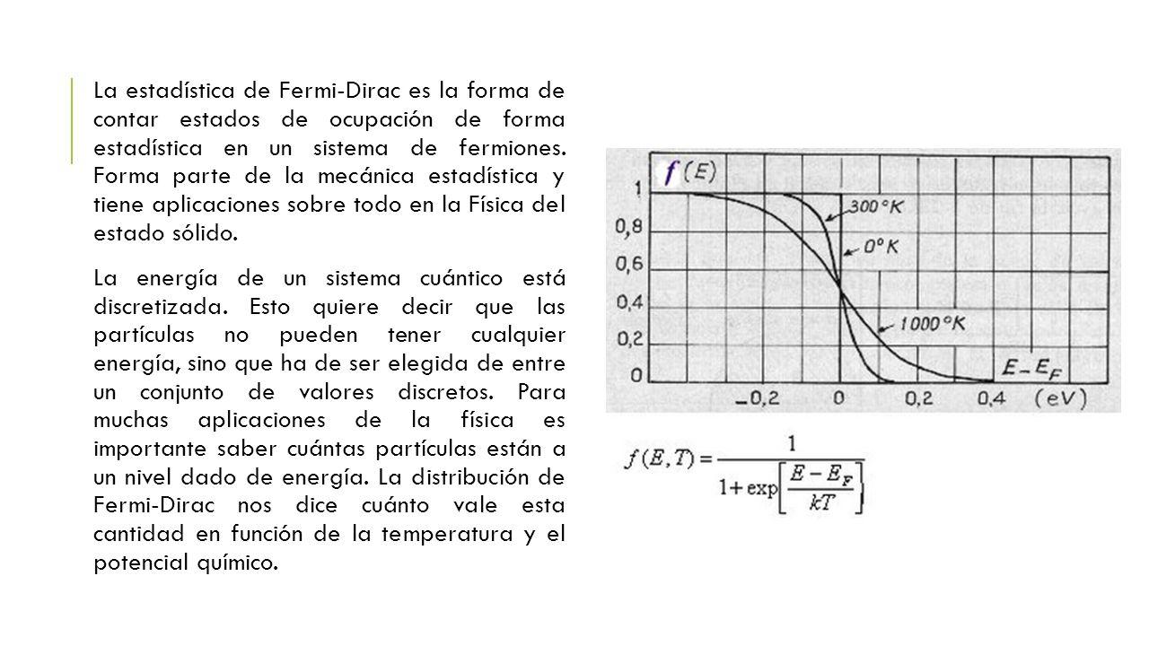 La estadística de Fermi-Dirac es la forma de contar estados de ocupación de forma estadística en un sistema de fermiones. Forma parte de la mecánica e