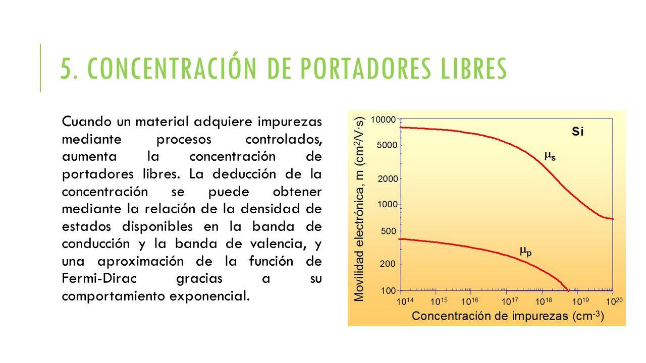 5. CONCENTRACIÓN DE PORTADORES LIBRES Cuando un material adquiere impurezas mediante procesos controlados, aumenta la concentración de portadores libr