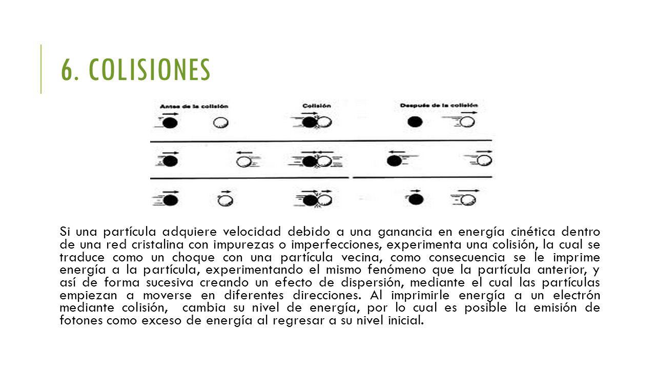 6. COLISIONES Si una partícula adquiere velocidad debido a una ganancia en energía cinética dentro de una red cristalina con impurezas o imperfeccione